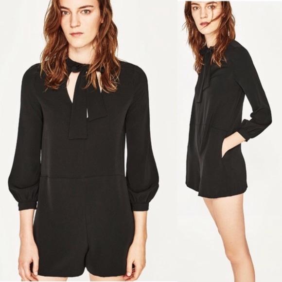 a5b7dfe2abf1 Zara Tie-Neck Bow Solid Black Jumpsuit Romper. M 5b51fcbad8a2c7b06bc13c7c